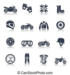 Motorcycle Icons Black Set