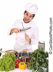 廚師, 磨快, 刀