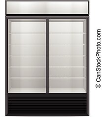 Display fridge on a white background