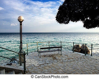Opatija view - Sight on the Adriatic Sea from coastline of...