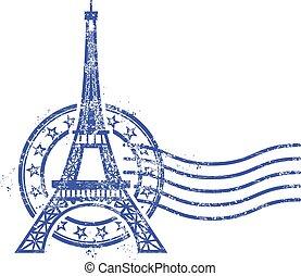 Grunge round stamp Eiffel Tower