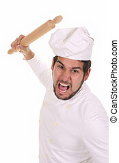 Mad chef with rolling pin
