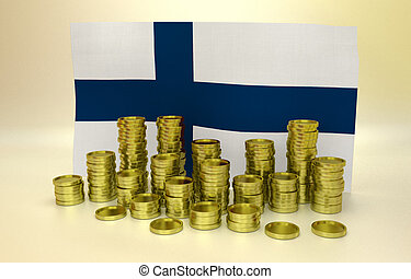 finance concept with Finnish flag - finance concept with...