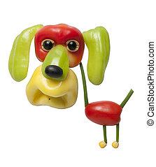 divertido, perro, hecho, de, pimienta,