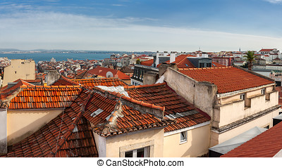Aerial view of red roofs in Lisbon, Portugal