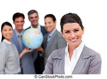 ambicioso, negócio, equipe, segurando, terrestre,...