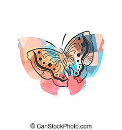 Modern flat design with origami butterfly isolated on white...