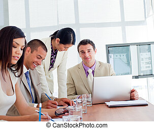 International business people having a meeting in a company