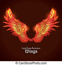 Wings And Flame - Red and yellow bright glowing ornamental...