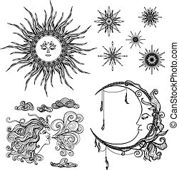 Stars Moon And Wind - Fairytale style sun moon and wind...