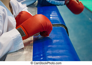 gloves on his hands for Karate - Teen with gloves on his...