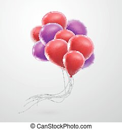 illustration of flying realistic glossy balloons - holiday...