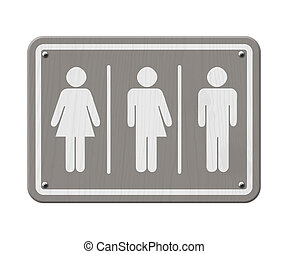 Transgender Sign, Gray and White Sign with a woman, male and...