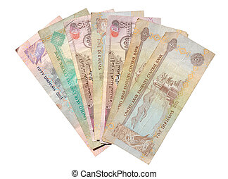 Dirhams isolated over white background. Currency from the...