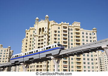 The Palm Jumeirah Monorail. Dubai United Arab Emirates