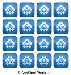 Cobalt Square 2D Icons Set: Abstract - Vector icons set...