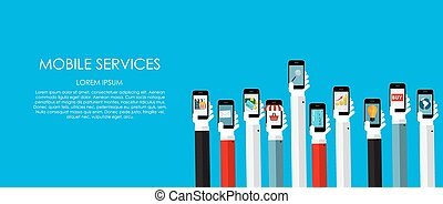 Mobile Services Vector illustration Flat computing...