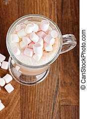 Areal view to the hot chocolate with marshmallows against a...