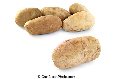 Six Raw Russet Potatoes Isolated on White