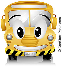 School Bus - Smiling School Bus with Clipping Path