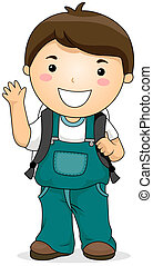 Student - A Kid Student with Clipping Path