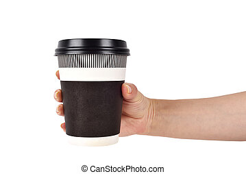 hand holding disposable coffee cup