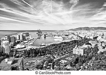 Malaga in BW, Andalucia, Spain