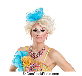 Drag Queen in Yellow-Blue Dress Performing, on white...