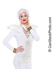 Drag Queen in White Dress Performing, on white background
