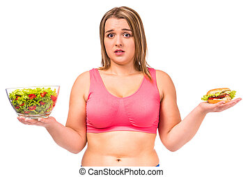 Fat woman dieting