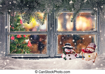 Atmospheric Christmas window sill decoration with home cozy...