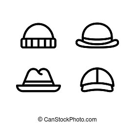 Hat line icons - Line icons of four mens hats. Isolated...