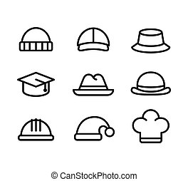 Hat line icons - Line icon set of hats: casual, formal and...