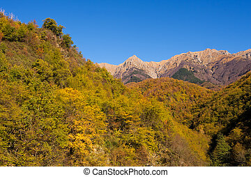 Autumn sunshine on the Apuane Alps,Italy - Lunigiana area of...