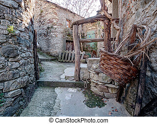 Abandoned village with basket Times past, bygones - Rather...