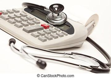pretas, Estetoscópio, calculadora
