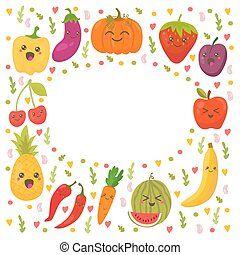 Fresh happy fruits and vegetables. Frame for your design. Cute background