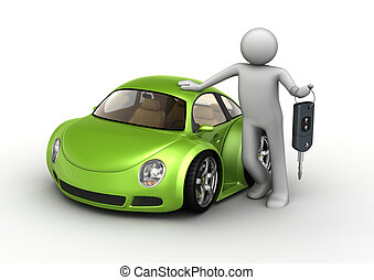 New green car - 3d isolated micromachines on white...