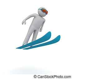 Ski jumping - 3d isolated characters on white background,...