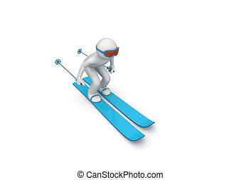 Downhill skier - 3d isolated characters on white background,...