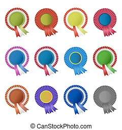 Set of blank award rosettes with ribbon