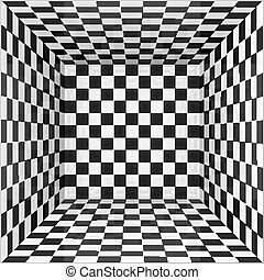 Black and white chessboard walls room background - Black and...