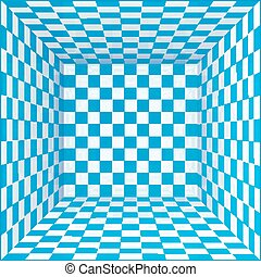 Blue and white chessboard walls room background - Blue and...
