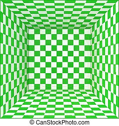 Green and white chessboard walls room background - Green and...