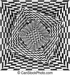 Black and white chessboard pattern boxes, abstract...