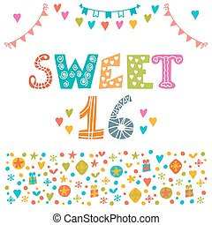 Sweet sixteen. Invitation flyer template design. Cute hand...