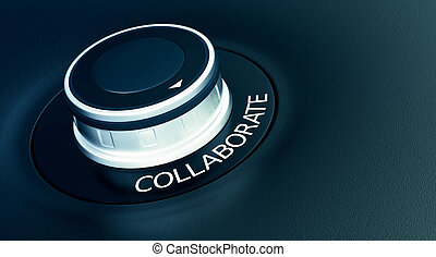 concept of collaboration - knob with arrow pointing to the...