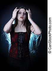 hembra, vampiro, largo, pelo