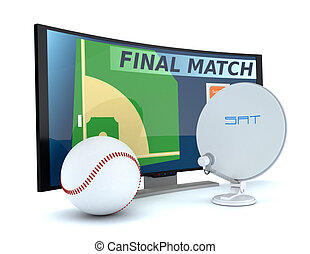 sport on tv - curved tv with a baseball ball and a sat dish...