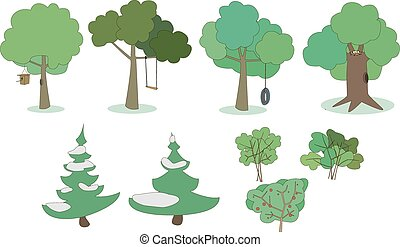 Set of trees and shrubs